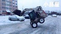 挖掘机视频表演大全:蓝翔技校表演系上演挖掘机《雪地转圈》